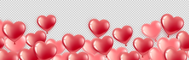 Flying red and pink heart-shaped balloons