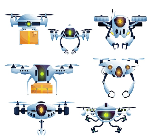 Flying robot, droid drone and copter cartoon characters