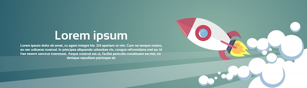 Flying rocket business startup concept banner with copy space