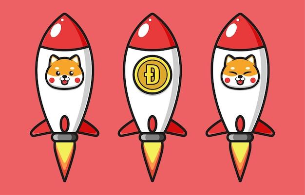 柴犬とドージコインを使った飛行ロケットのデザイン
