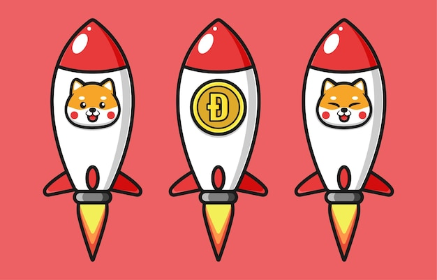 Flying rocket design with shiba inu and dogecoin