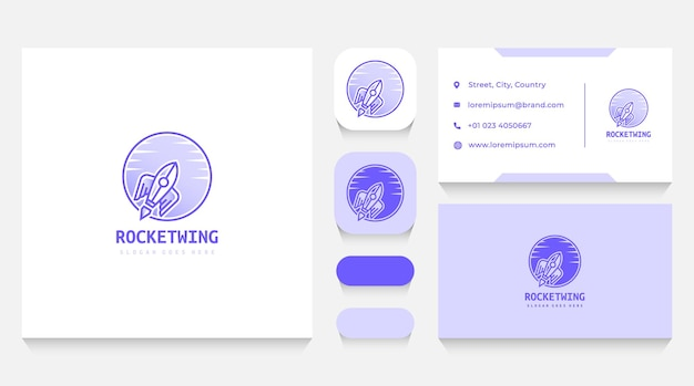 Flying rocket logo template and business card