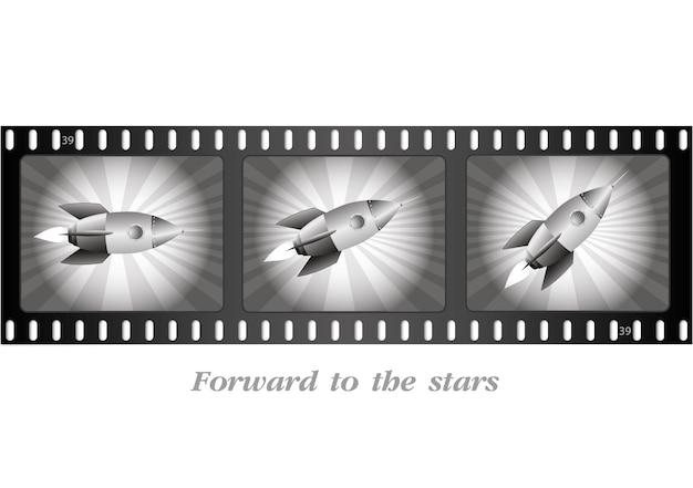 비행 로켓 . 오래 된 필름 스트립입니다. 레트로 영화입니다.