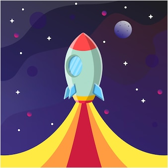 Flying rocket to the space with cartoon style