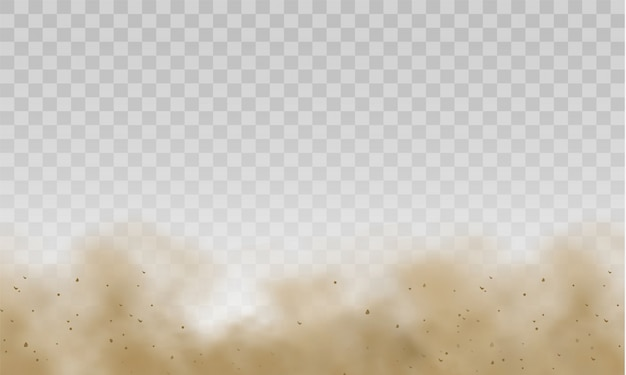 Flying sand. brown dusty cloud or dry sand flying with a gust of wind, sandstorm. dust cloud. scattering trail on track from fast movement. brown smoke realistic texture .