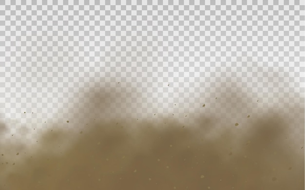 Flying sand brown dusty road cloud or dry sand flying with a gust of wind sandstorm
