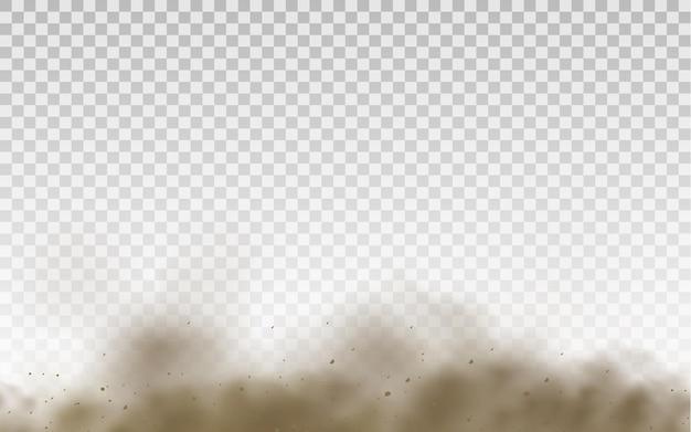 Летящий песок, коричневое пыльное дорожное облако или сухой песок, летящий с порывом ветра, песчаная буря