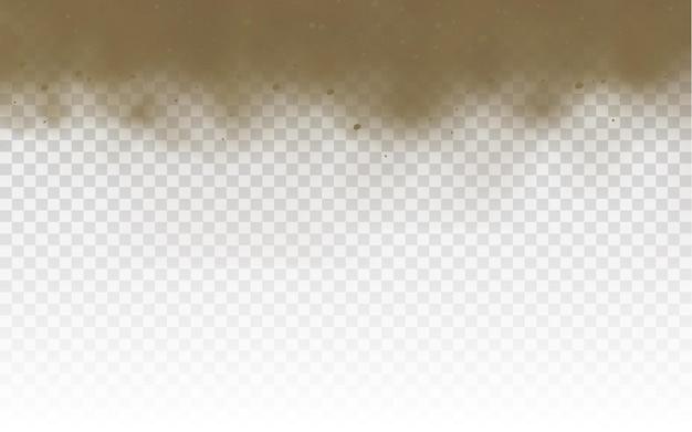날아다니는 모래 갈색 먼지가 많은 도로 구름 또는 바람 모래 폭풍의 돌풍으로 날아가는 마른 모래