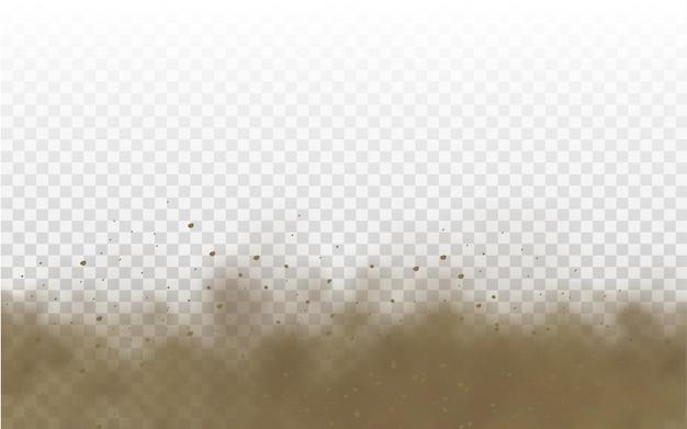 飛んでいる砂茶色のほこりっぽい道路の雲または突風の砂嵐で飛んでいる乾いた砂