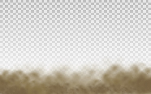 Flying sand. dust cloud. brown dusty cloud or dry sand flying with a gust of wind, sandstorm. brown smoke realistic texture vector illustration.