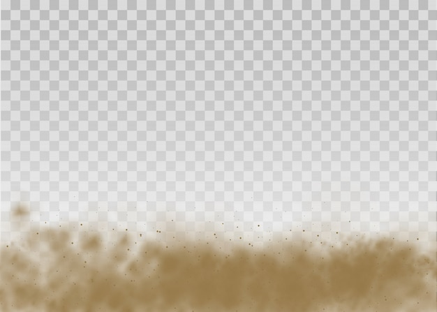 Летающий песок. пылевое облако. бурое пыльное облако или сухой песок летит с порывом ветра, песчаная буря. коричневый дым реалистичные текстуры. иллюстрации.