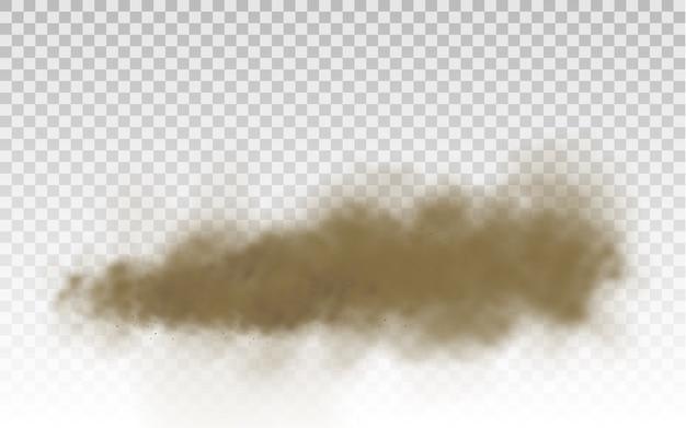 Летающий песок. пылевое облако. бурое пыльное облако или сухой песок летит с порывом ветра, песчаная буря. коричневый дым реалистичная текстура