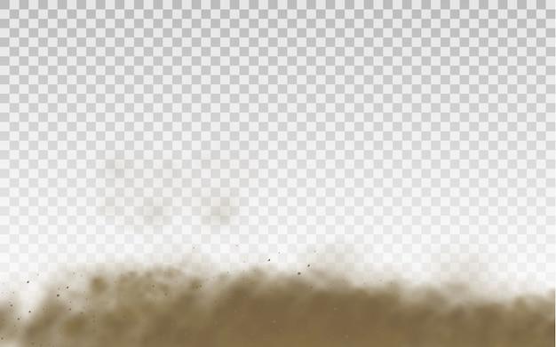 フライングサンド。ダストクラウド。茶色のほこりっぽい雲または乾いた砂が突風と砂嵐で飛んでいます。茶色の煙のリアルな質感