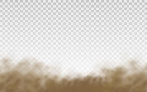 フライングサンド。ダストクラウド。突風で飛んでいる茶色のほこりっぽい雲砂。