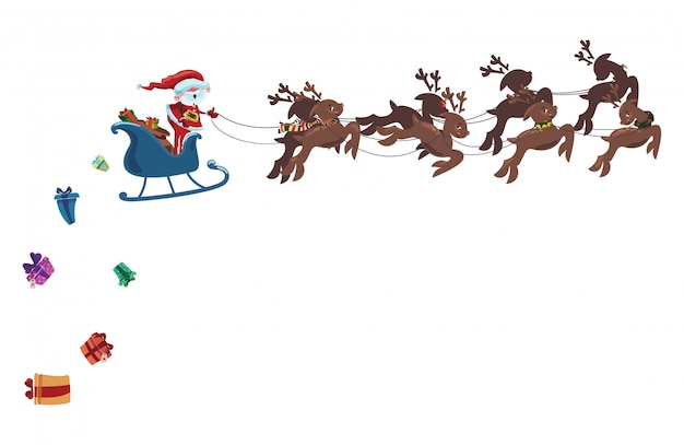 Flying santa in a sleigh with deer. christmas illustration of santa claus.