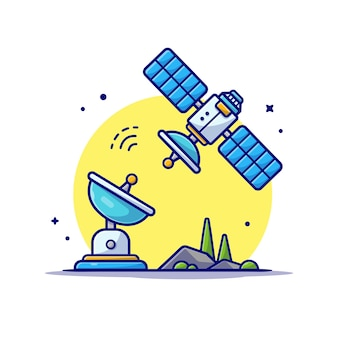 Flying satellite with antenna space cartoon icon illustration.