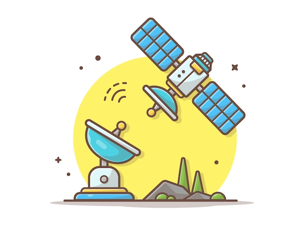 Flying satellite with antenna vector illustration