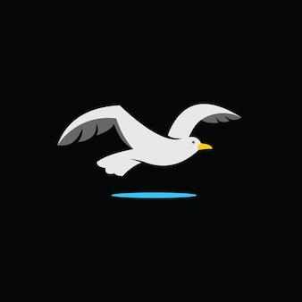 비행 갈매기 로고 간단한 만화