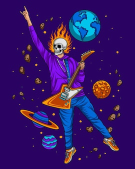 Flying skeleton playing guitar on the space