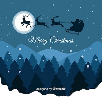 Flying sleigh christmas background