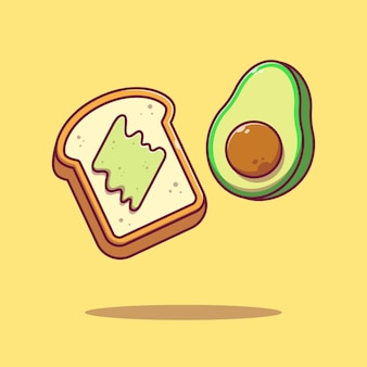 Flying slice of avocado toast flat cartoon illustration isolated