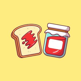 Flying slice of strawbery jam bread flat