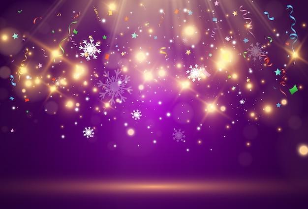 紫色の背景に雪が飛んでいます