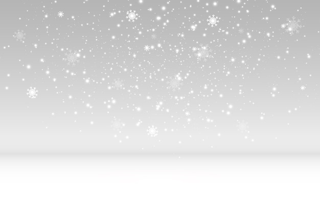 透明な背景に雪が飛んでいます。降雪や吹雪の自然現象。