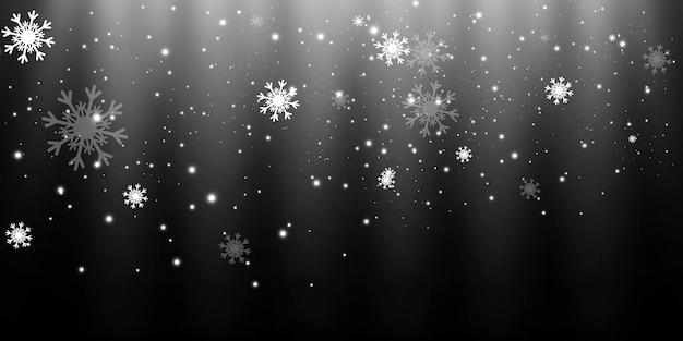 透明な背景、降雪や吹雪の上で雪を飛んでいます。