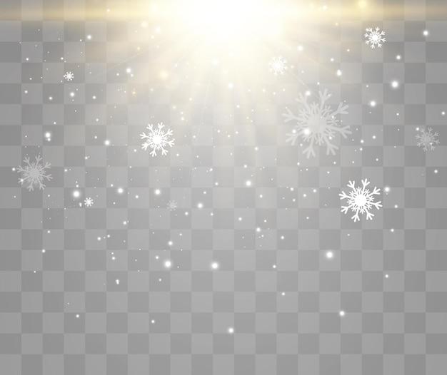 透明な上に飛んでいる雪