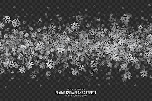 Flying snowflakes effect transparent