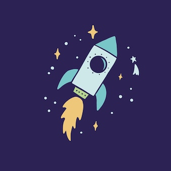 Flying to space cartoon rocket. hand drawn kids style. science, space explorer