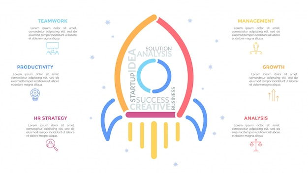 Flying spacecraft drawn with colorful lines and surrounded by pictograms and text boxes. concept of new project launch.