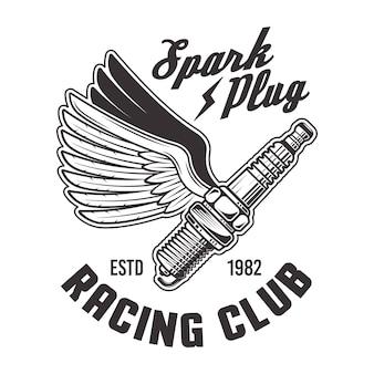 白い背景に分離されたビンテージスタイルのレーシングクラブの翼のエンブレムとスパークプラグを飛んでください。