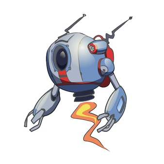 Летающий сферический робот. иллюстрация на белом фоне.