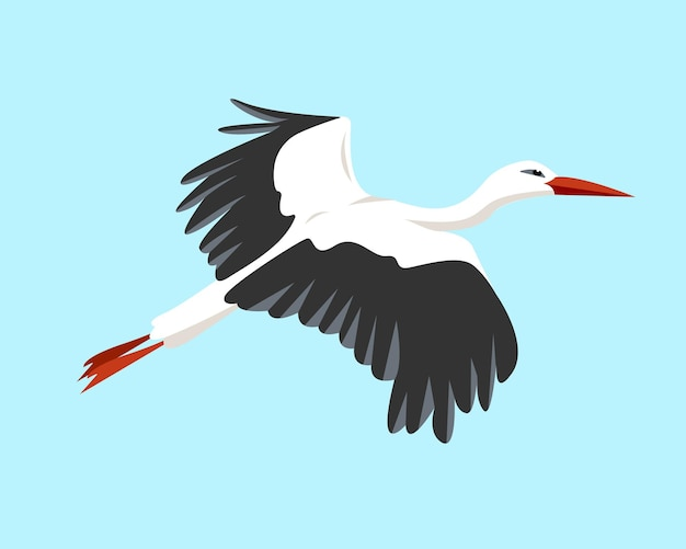 Летающий аист птица в небе белый и серый аист на синем фоне