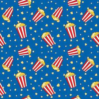 Flying strip popcorn buckets, funny cinema seamless pattern, vector illustration.
