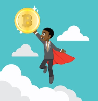 Flying super hero african businessman holding bitcoin.
