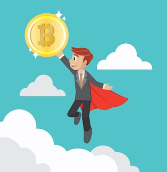 Flying super hero businessman holding bitcoin.