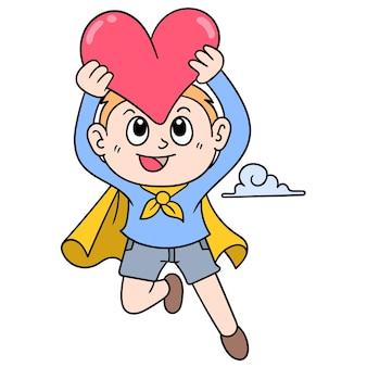 バレンタインの心、ベクトルイラストアートを運ぶ空飛ぶスーパーヒーローの少年。落書きアイコン画像カワイイ。