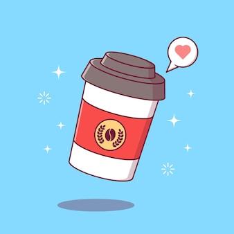 フライングテイクアウト一杯のコーヒーフラット漫画イラスト。