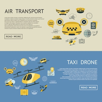 Flying taxi icons collection