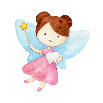 Flying tooth fairy holding a magic wand and a tooth. watercolor character illustration