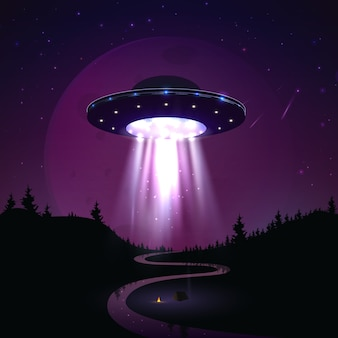 Flying ufo over night landscape  illustration. alien invasion of earth. supernatural spaceship with glow lights hovers over the river