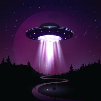 夜の風景イラストを飛ぶufo。地球のエイリアンの侵略。グローライトの付いた超自然的な宇宙船が川の上に浮かぶ