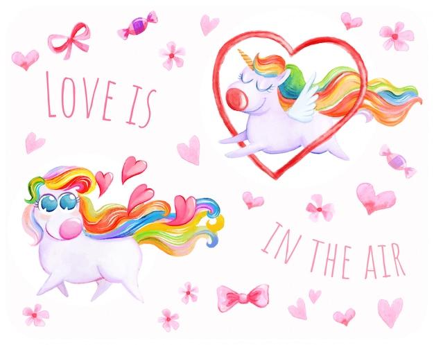 Flying unicorn love background