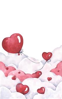 空を飛んでいるバレンタインの赤いハートの風船。愛と恋愛カード。水彩イラスト。