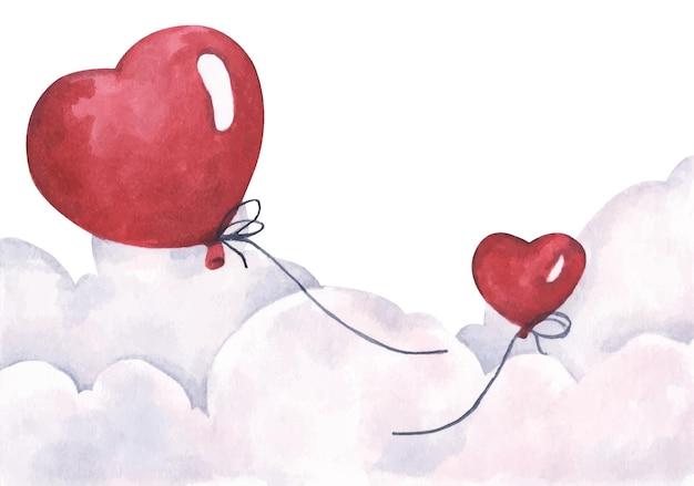 空を飛んでいるバレンタインの赤いハートの風船。愛と恋愛カード。水彩。
