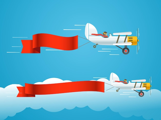 Летящий старинный самолет с баннерами. шаблон для текста