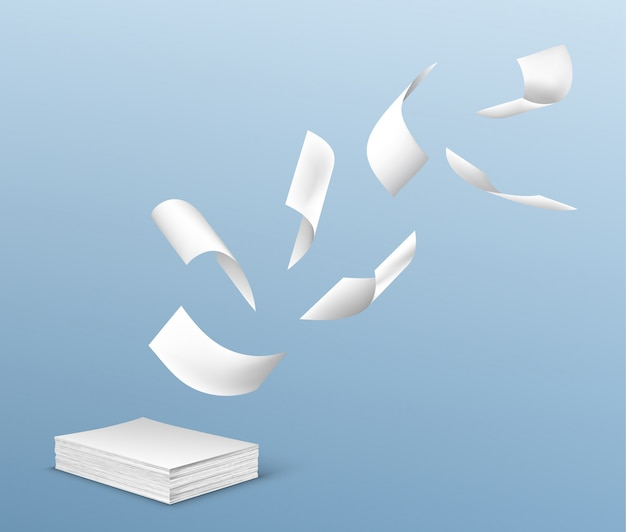 Flying white paper sheets from stack of documents